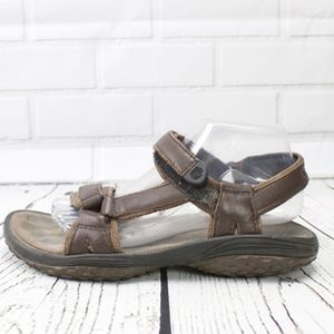 Teva Brown Leather Sport Velcro Strap Sandals Sz 9